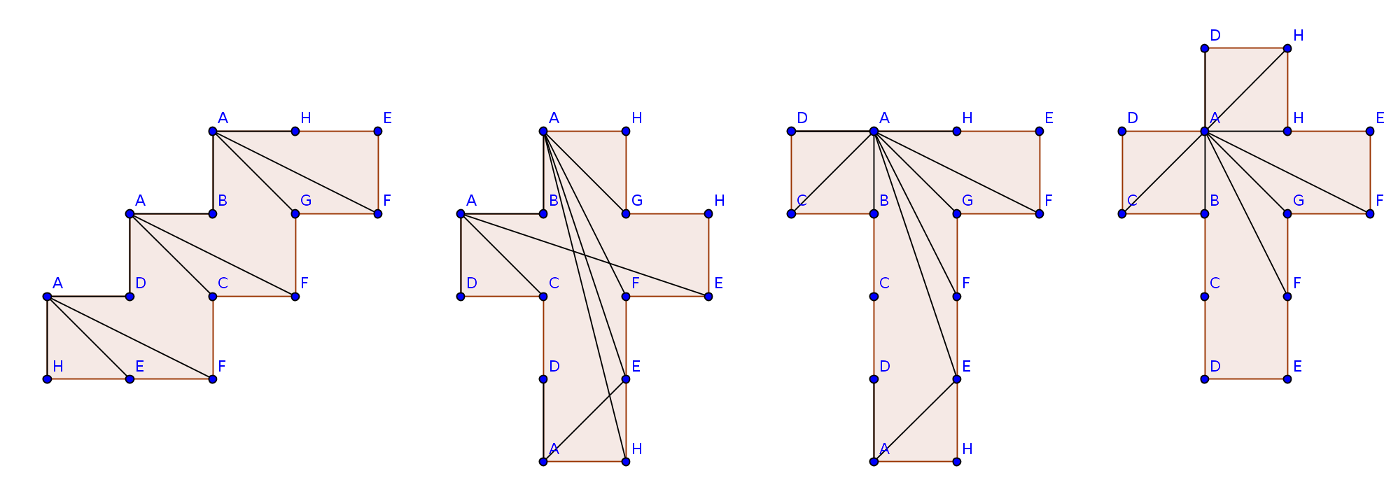 Représentations de chemins géodésiques entre un sommet du cube et les autres sommets.