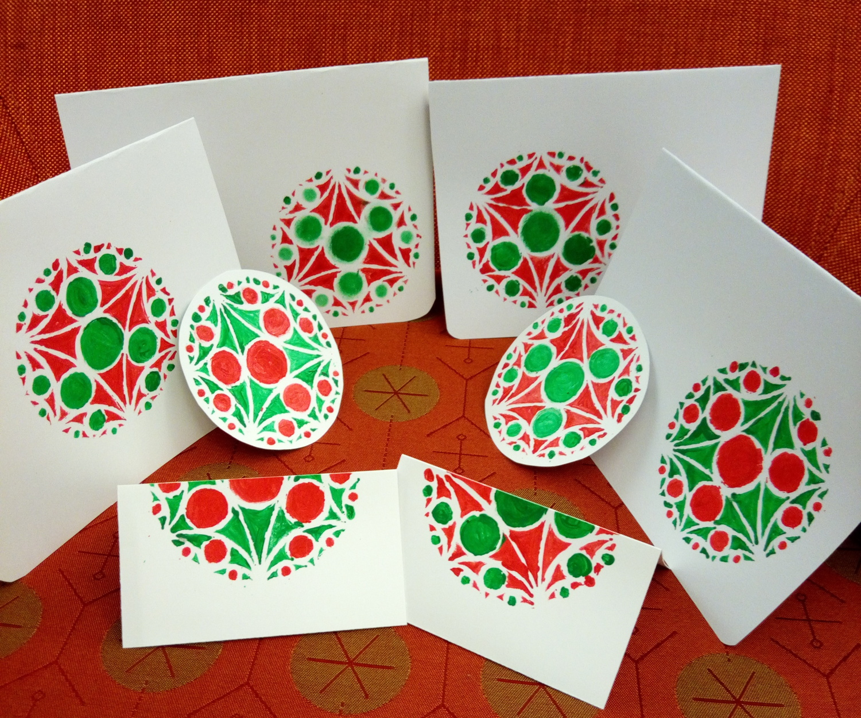 cartes festives décorées avec des cercles