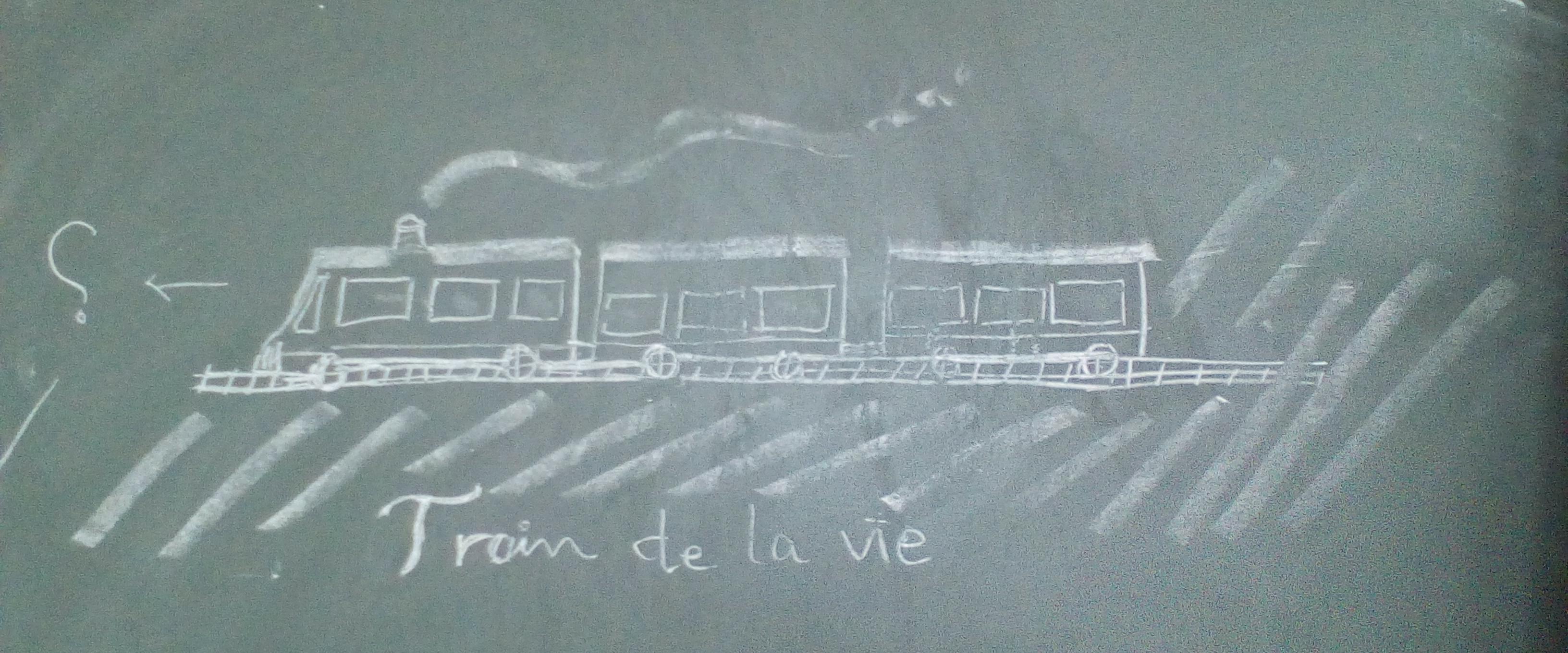 Dessin à la craie sur un tableau representant un train à vapeur.